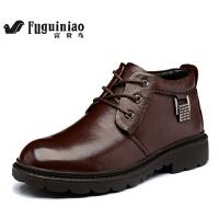 高帮鞋保暖牛皮短靴男鞋 英伦商务皮鞋 男式冬季棉鞋加毛
