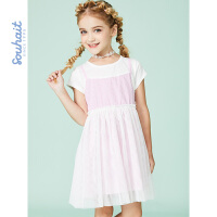 【3折价:98.7元】souhait水孩儿童装夏季新款连衣裙半袖裙儿童假两件连衣裙SHNXGD12CZ542