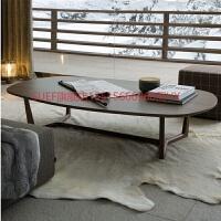 北欧家具椭圆形茶几极简约水曲柳实木美式咖啡桌师薄边茶几 组装