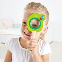 Hape放大镜3-6岁儿童卡通放大镜木质科学探索益智玩具婴幼玩具木制玩具 多色可选