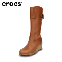 【2双3折】女鞋高帮靴Crocs卡洛驰骆驰真品 蕾丽皮革长靴|14783 蕾丽皮革长靴