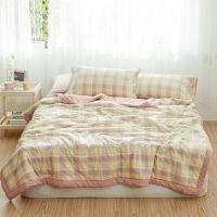 伊迪梦家纺全棉水洗棉夏被棉花被四件套床单款床笠式儿童被单人床双人床被芯夏季夏凉裸睡床上用品ZL11