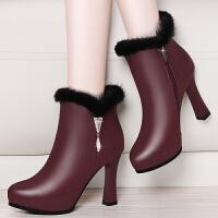 2017秋冬季新款尖头粗跟短靴高跟马丁靴加绒皮靴防水台兔毛女靴子