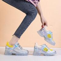 老爹鞋女户外时尚百搭网面透气内增高厚底休闲运动小白鞋