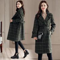 毛呢外套女中长款2018秋冬新款韩版气质显瘦双排扣格子大衣外套厚