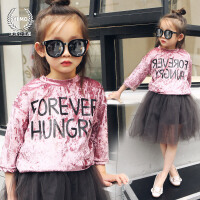 女童打底衫2018春夏新款童装韩版字母宽百搭松长袖T恤儿童上衣