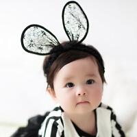 韩版婴儿发带可爱公主婴儿蕾丝兔耳朵宝宝拍照发饰儿童头饰头花箍