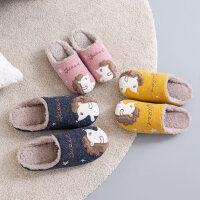时尚情侣家居毛拖鞋家用防滑保暖亲子儿童棉拖鞋女可爱冬季室内
