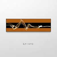 现代简约卧室装饰画横版抽象线条客厅沙发背景墙壁挂画轻奢床头画 35*140 47格调黑 高清艺术微喷(金属拉丝