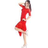 2017新款广场舞服装 套装新款 长袖上衣加裙子 拉丁舞服装 大红色 XXL