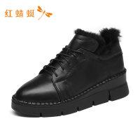 红蜻蜓女鞋秋冬新款厚底增高时尚舒适高跟单鞋女-