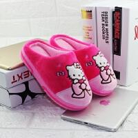 迪士尼hellokitty女童卡通棉拖鞋宝宝学步鞋保暖防滑可爱地板拖 中童粉色