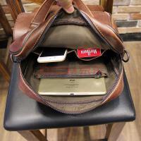 公文包包包斜挎包运动旅行包格子英伦简约袋子迷彩学生旅游包袋背包时尚尼龙男包手提包 咖啡色 满2件手包