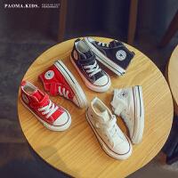 经典高帮儿童帆布鞋春秋季女童男童宝宝幼儿园学生小白鞋