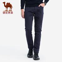 骆驼男装 秋冬新款男青年微弹直筒长裤子纯色磨毛中腰休闲裤