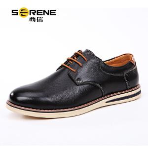 西瑞青年英伦真皮休闲鞋春季新款系带潮鞋男士板鞋商务正装小皮鞋5888