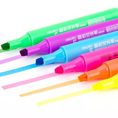【单品包邮】得力33311水彩笔画笔荧光笔学生儿童画画涂鸦笔无毒笔记号隐形划线 6支装色彩鲜艳