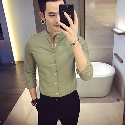 男士长袖衬衫韩版修身立领打底衫2017秋季中风棉麻衬衣夜店男装 发货周期:一般在付款后2-90天左右发货,具体发货时间请以与客服协商的时间为准