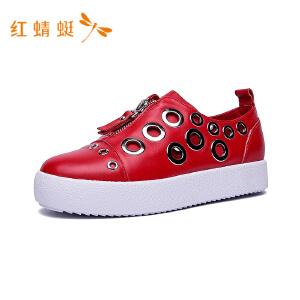 【专柜正品】红蜻蜓新款金属圆环拉链时尚潮流休闲女单鞋
