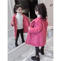 冬装韩版女孩时髦毛毛衣儿童洋气毛呢大衣潮女童加厚外套