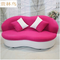 小型沙发单人沙发床创意欧式布艺沙发休闲小户型沙发双人嘴唇懒人沙发卧室沙发椅W 房间卧室沙发 小户型 玫红白小型沙发