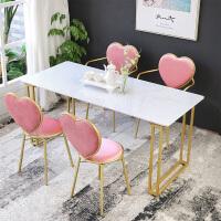 轻奢大理石餐桌家用小桌子实木餐桌椅组合现代简约小户型创意饭桌 餐桌200*90*75(大理石桌面)