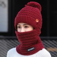 时尚帽子围脖一体女秋冬天加厚保暖冬季骑车护耳防寒潮百搭针织毛线帽