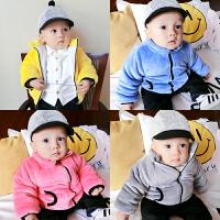婴儿衣服装0岁3个月6宝宝加绒加厚外套9新生儿上衣季冬装