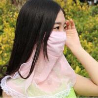雪纺蕾丝薄款面纱 夏季护颈防晒口罩防紫外线女防紫外线防尘面罩可清洗易呼吸全脸遮阳 颜色随机