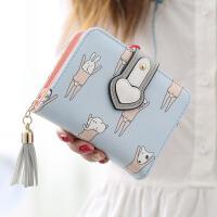 钱包女短款女士钱包韩版可爱卡通流苏学生拉链潮钱夹零钱包