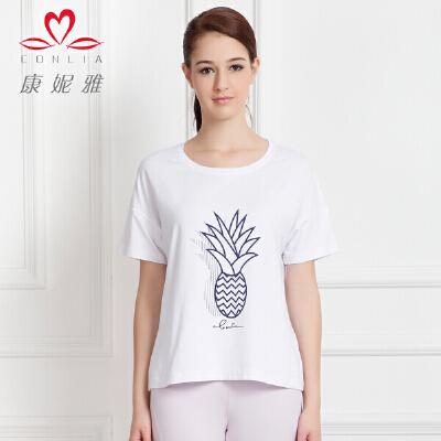 康妮雅夏季新款女装 女士印花简约短袖T恤薄款先领卷后购物 满399减50