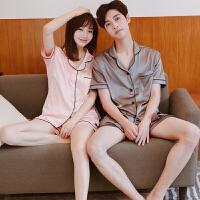情侣睡衣夏 冰丝短袖女甜美清新宽松韩版套装 两件套家居服男夏季
