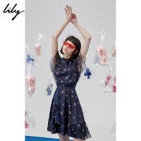 Lily春夏新款女装choker印花连衣裙118230C7558