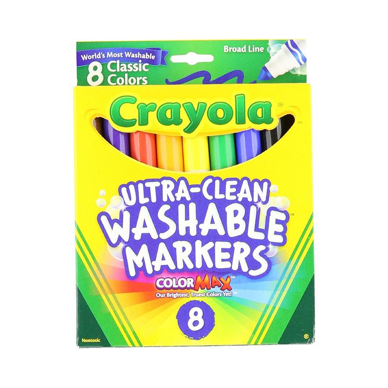 保税区发货 Crayola绘儿乐 儿童画笔 8色可水洗粗头水彩笔 3岁以上 海外购 可水洗粗头水彩笔