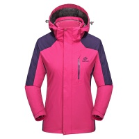 户外冲锋衣男女三合一登山服两件套抓绒衣秋冬保暖探拓西藏 女 玫红