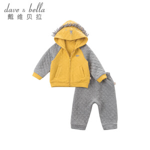 davebella戴维贝拉男童秋冬休闲加厚夹棉套装DBZ6303