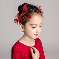 儿童花朵头饰发箍花童婚纱头箍饰品女童红色演出礼服配饰头花发饰