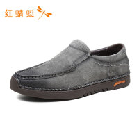 红蜻蜓男鞋春夏新款休闲鞋个性绒面撞色套脚舒适透气潮流男休闲鞋