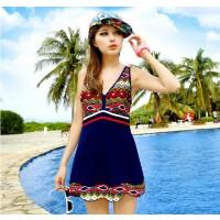 2014新夏海泳衣裙式连体修身显瘦遮肚韩版温泉泳装游泳衣女