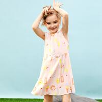 【2件3折价:65】小猪班纳童装女童连衣裙夏装新款中大童背心裙露肩儿童休闲裙子