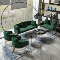北欧沙发茶几组合简约现代办公客厅会客接待铁艺风服装店沙发 1+1+2+3+茶几 墨绿色