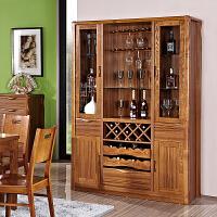 全实木酒柜现代简约中式玄关柜展示柜客厅储物隔断柜厨房柜餐边柜 全 4门
