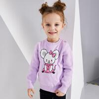 【2件3折到手价:71.1】小猪班纳童装女小童针织衫2019冬季新款宝宝毛衣长袖纯棉卡通线衫