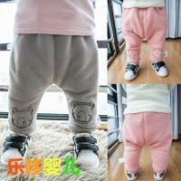 新款小熊婴儿大PP裤冬季加绒加厚新生儿宝宝拉拉裤纯色可开档韩版