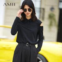 Amii[极简主义] 2018春新品直筒翻领暗扣露肩休闲百搭T恤11780848