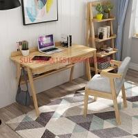 实木书桌简约家用台式电脑桌卧室写字办公桌简易初中学生学习桌子 【升级款】1.4米桌子+椅子 【颜色备注】