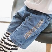 儿童牛仔短裤假两件 2018春新款韩版休闲宝宝打底裤女童条纹裤子