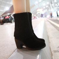 彼艾2017秋冬季多穿袜靴磨砂牛皮毛线靴长靴高跟靴中筒套筒瘦腿女靴子