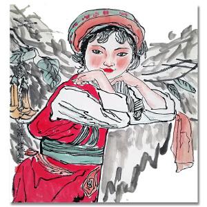 中国美术协会顾问 刘文西《白族姑娘》LL291