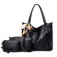 女士包包2018新款潮软皮女包托特包时尚斜挎包单肩手提大包子母包 黑色 三件套